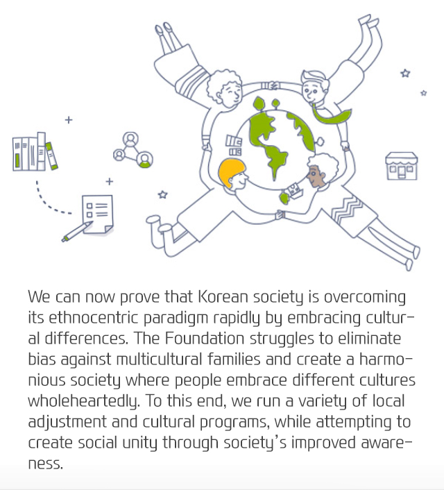 Korean society is overcoming its ethnocentric paradigm rapidly by embracing cultural differences. The Foundation strives to eliminate bias against multicultural families and create a harmonious society where people embrace different cultures wholeheartedly. To this end, the Foundation runs a variety of local adjustment and cultural programs to help multicultural families settle while attempting to create social unity through society's improved awareness of cultural diversity.